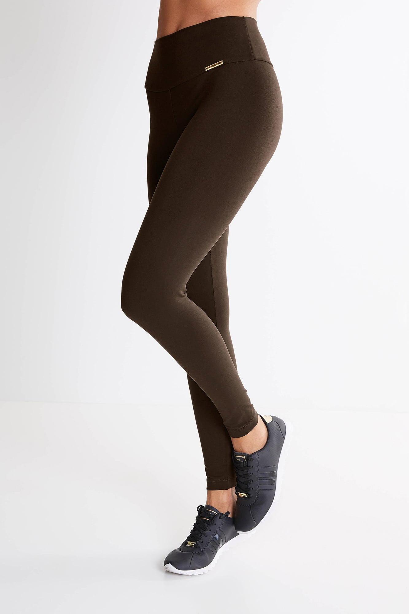 Calça Legging Marrom Mulheres Altas  - Comprimento Personalizado