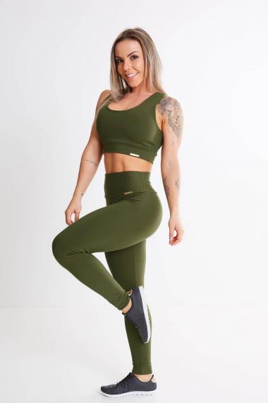 Calça Legging Verde Militar Cintura Alta