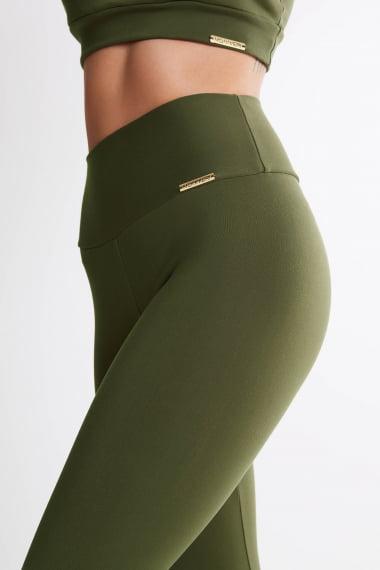 Calça Legging Verde Militar Mulheres Altas  - Comprimento Personalizado
