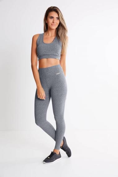 Calça Legging Cinza Claro Mulheres Altas - Comprimento Personalizado
